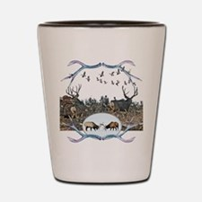 Deer elk and geese Shot Glass