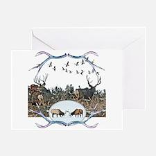 Deer elk and geese Greeting Card