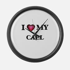 I love Cael Large Wall Clock
