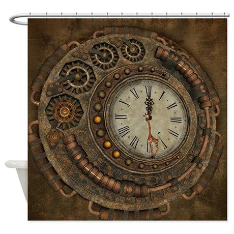 steampunk awesome clock shower curtain by fantasyworld10