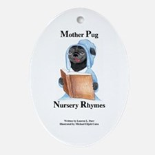 Mother Pug Cover Oval Ornament
