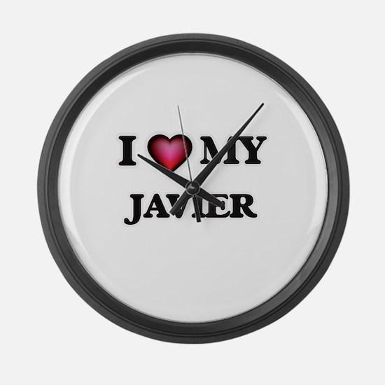 I love Javier Large Wall Clock