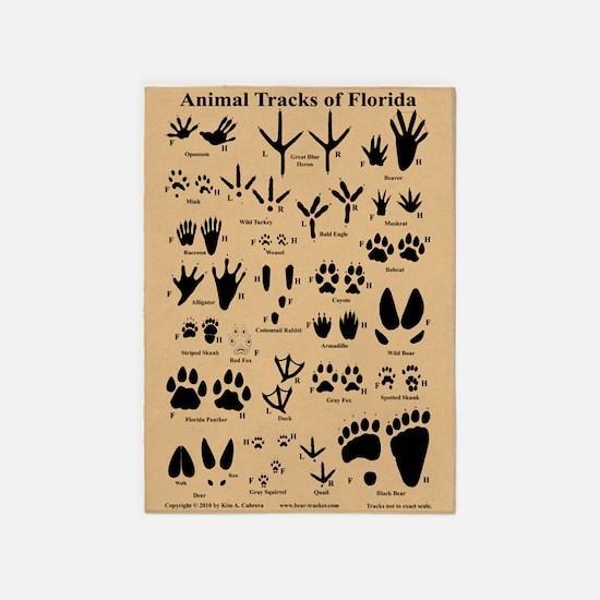 Florida Animal Tracks 5'x7'area Rug