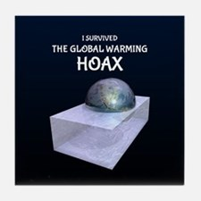 I Survived The Global Warming Hoax Tile Coaster