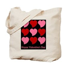 Valentine Hearts on Black Tote Bag