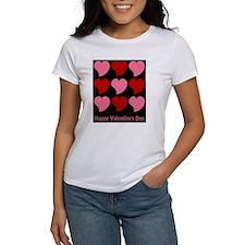 Valentine Hearts on Black Tee