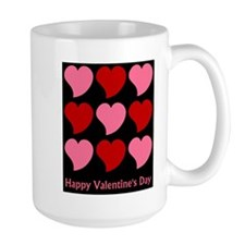 Valentine Hearts on Black Mug
