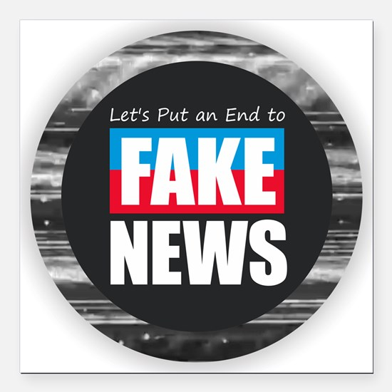 "End Fake News Square Car Magnet 3"" x 3"""