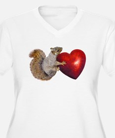 Squirrel Big Red Heart Plus Size T-Shirt