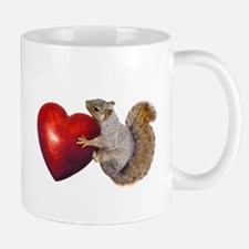 Squirrel Big Red Heart Mugs