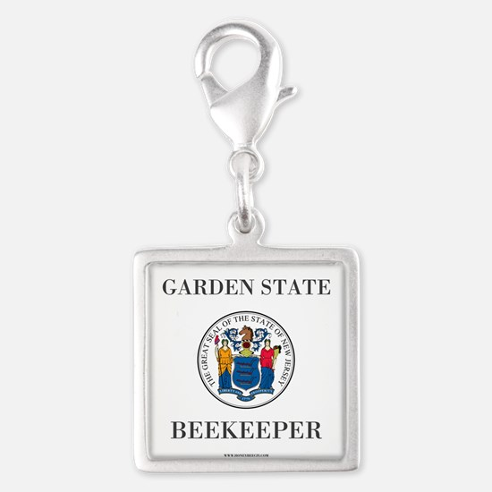 New Jersey Beekeeper Silver Square Charm Charms