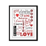 Love Words and Hearts Framed Panel Print