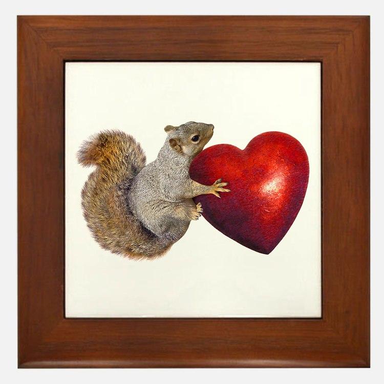 Squirrel Big Red Heart Framed Tile