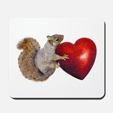 Squirrel Big Red Heart Mousepad