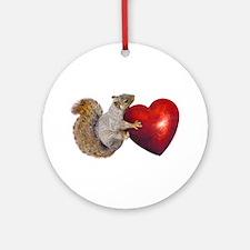 Squirrel Big Red Heart Round Ornament