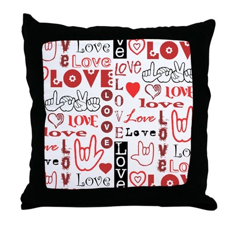 Love Words and Hearts Throw Pillow by aslstuff
