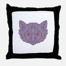 Fox Head Mono Line Throw Pillow