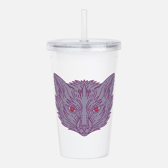 Fox Head Mono Line Acrylic Double-wall Tumbler