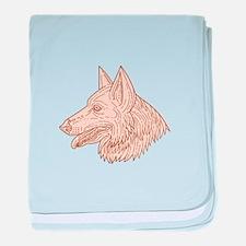 German Shepherd Dog Head Mono Line baby blanket