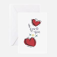 I Love You XOX Hearts Greeting Card