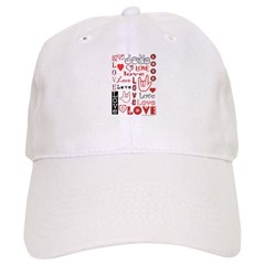 Love Words and Hearts Baseball Cap