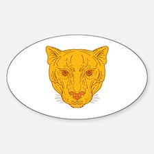 Cougar Mountain Lion Head Mono Line Decal