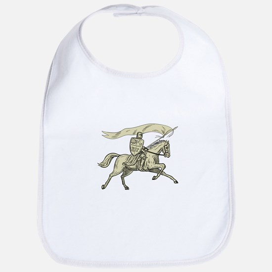 Knight Riding Horse Shield Lance Flag Drawing Baby
