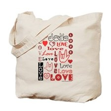 Love Words and Hearts Tote Bag