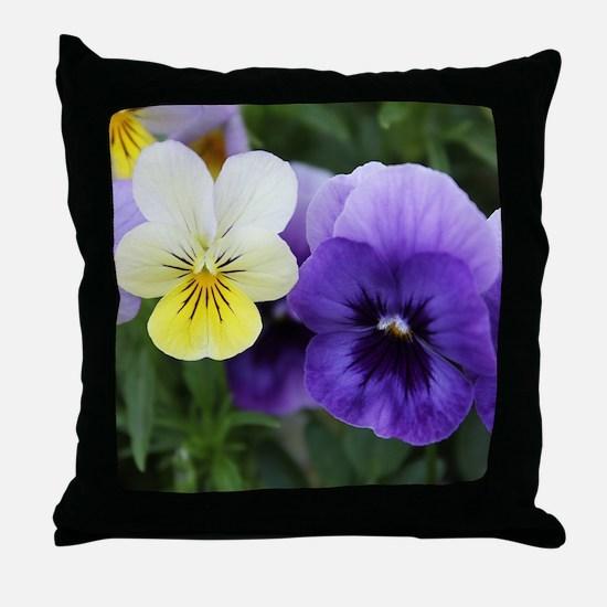 Italian Purple and Yellow Pansy Flowers Throw Pill