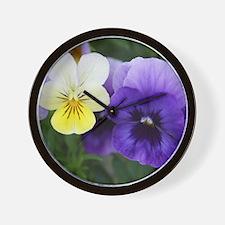 Italian Purple and Yellow Pansy Flowers Wall Clock