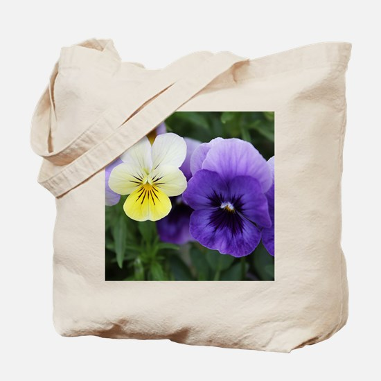 Italian Purple and Yellow Pansy Flowers Tote Bag
