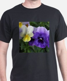 Italian Purple and Yellow Pansy Flowers T-Shirt