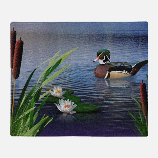 Wood Duck Pond Throw Blanket