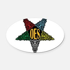 OES Swirl Star Oval Car Magnet