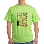 Love Words and Hearts Green T-Shirt