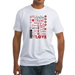 Love Words and Hearts Fitted T-Shirt