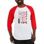 Love Words and Hearts Baseball Jersey