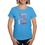 Love Words and Hearts Women's Dark T-Shirt