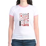 Love Words and Hearts Jr. Ringer T-Shirt