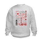 Love Words and Hearts Kids Sweatshirt