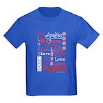 Love Words and Hearts Kids Dark T-Shirt
