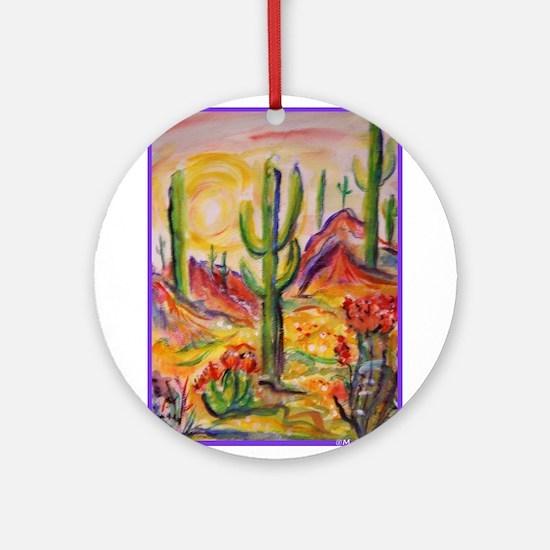 Saguaro Cactus, desert Southwest art! Round Orname
