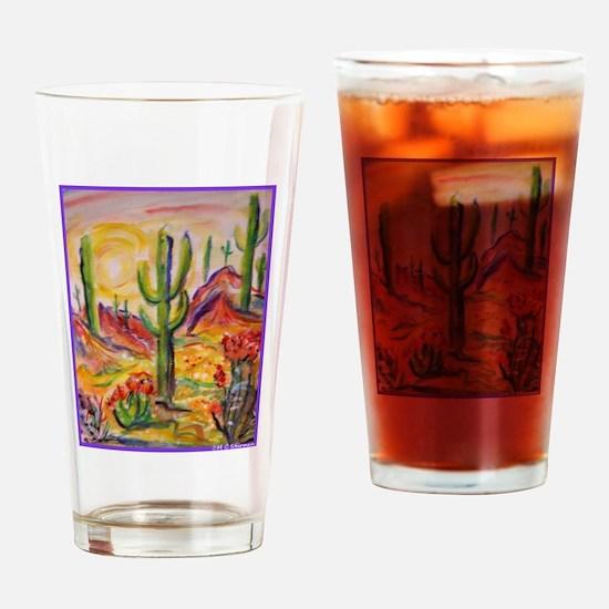 Saguaro Cactus, desert Southwest art! Drinking Gla