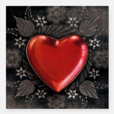 "Romantic Floral Heart Va Square Car Magnet 3"" x 3"""