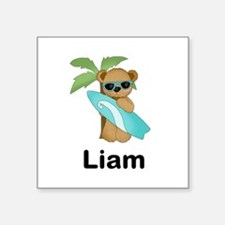 "Liam's Surfer Bear Square Sticker 3"" x 3"""