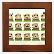 groundhog emojis Framed Tile