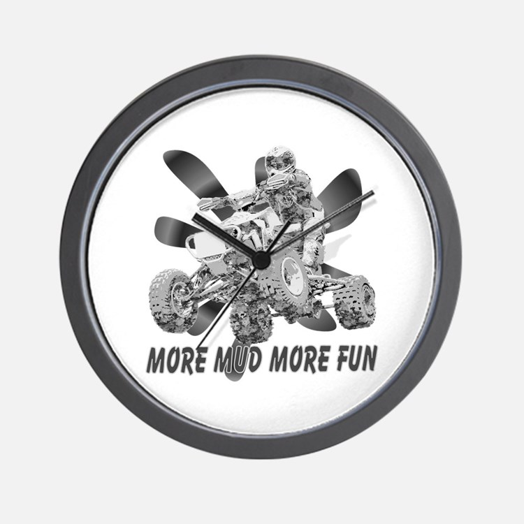 More Mud More Fun on an ATV (B/W) Wall Clock
