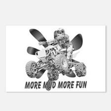 More Mud More Fun on an ATV (B/W) Postcards (Packa