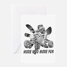 More Mud More Fun on an ATV (B/W) Greeting Card