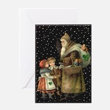 Village Santa Christmas Cards (10) Greeting Cards